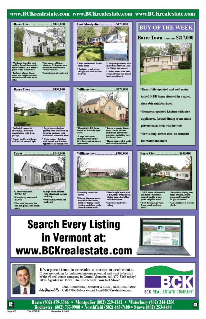 BCK Real Estate, Stowe Realty, John Biondolillo, Vermont Real Estate